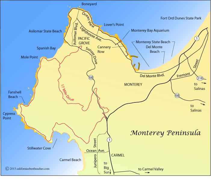 Map showing the area around Monterey Peninsula, CA