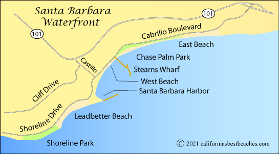 map of waterfront in Santa Barbara, California