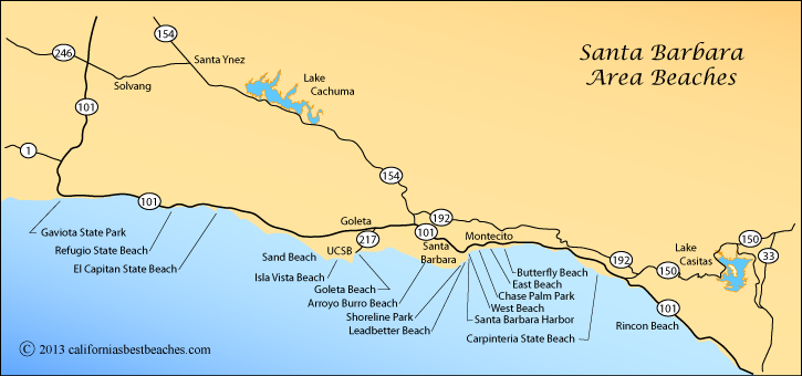 map of beaches around Santa Barbara, California