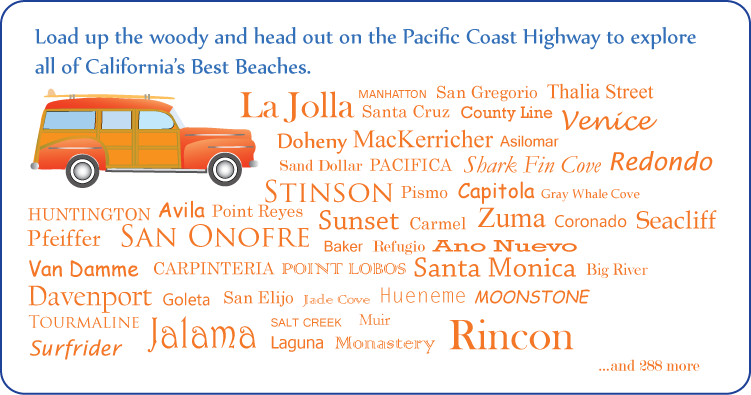 a woody and a list of beaches in  California