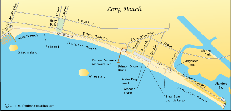 Image gallery long beach shoreline map Long beach fishing spots
