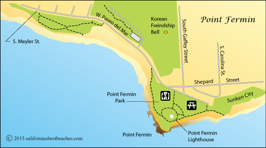 Point Fermin map, San Pedro, Los Angeles County, CA