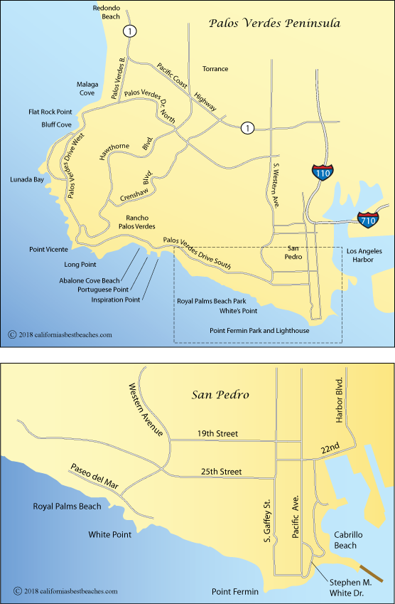 map of Royal Palms Beach area and  the Palos Verdes Peninsula, Los Angles, California