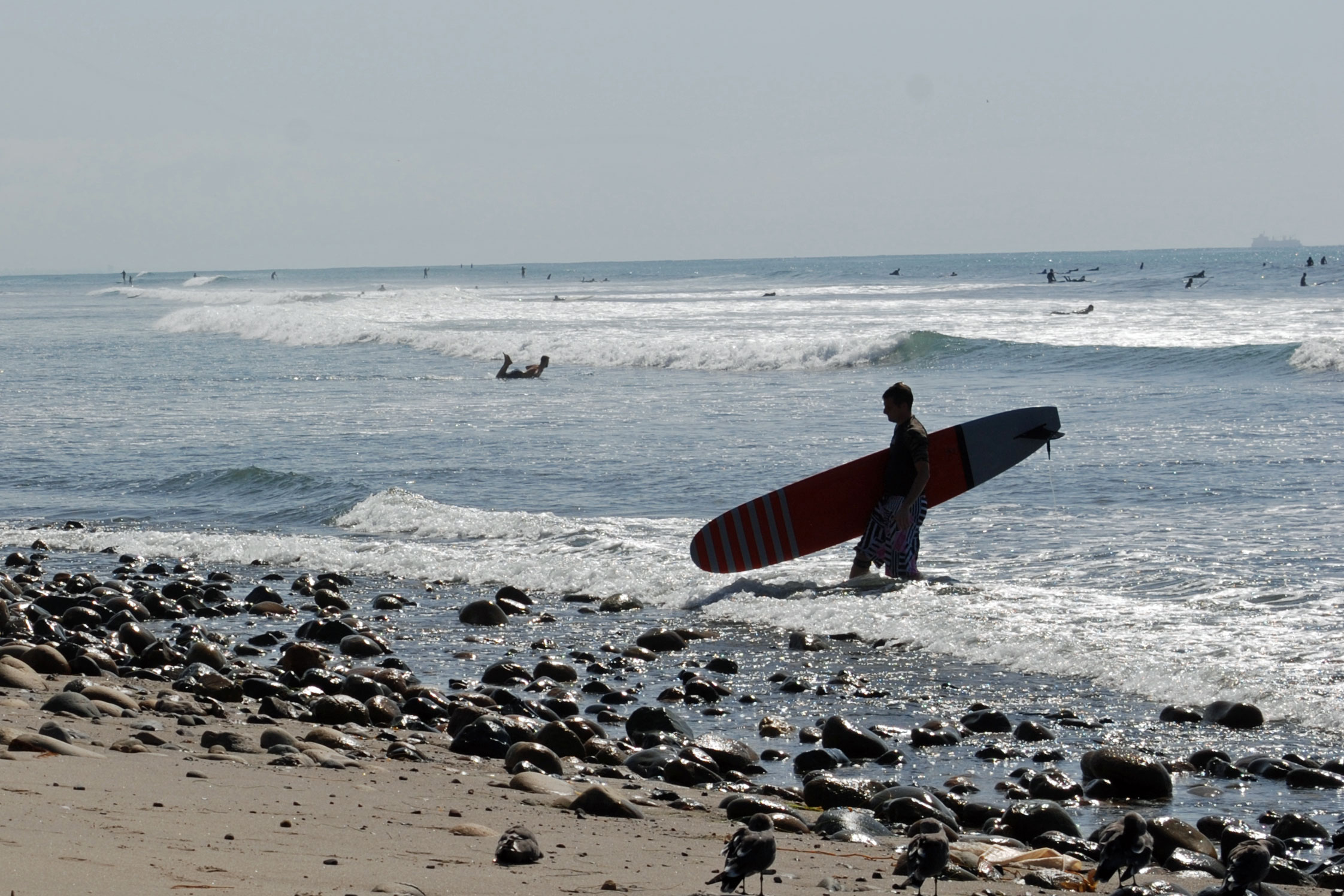 surfers at San Onofre Beach, CA