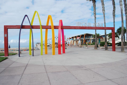 entrance to Imperial Beach pier, known as Surfhenge, San Diego County, California