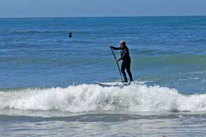 paddleboarder at Mondos Beach, Ventura County, CA