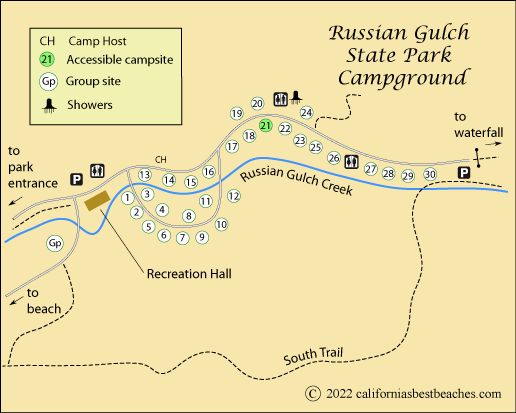 map of Russian Gulch State Park campground, Mendocino County, CA