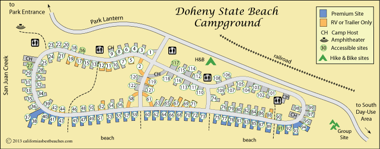 map of Doheny Beach Campground, Orange County, CA