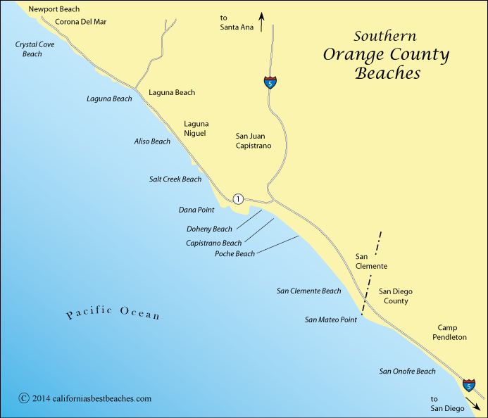 Map of Southern Orange County beaches, California
