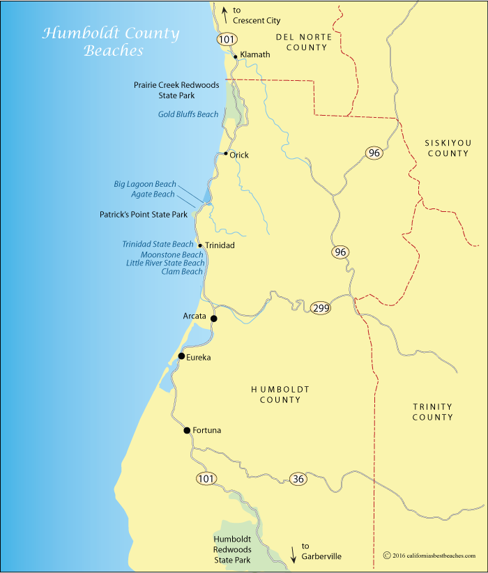 Map showing nist Humbolddt County beaches, CA